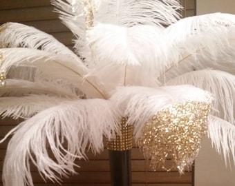 "Gold Glitter Ostrich Feather Centerpiece-Black Eiffel Tower Vase 16""-Kit-Wedding-Gatsby-PromParty-Anniversary-Sweet 16-Birthday"