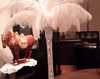 "Ostrich Feather Centerpiece  16"" Eiffel Tower Sweet 16-Graduation-Bridal Shower-Gatsby-Birthday-Wedding-Anniversary-Conference-Party"