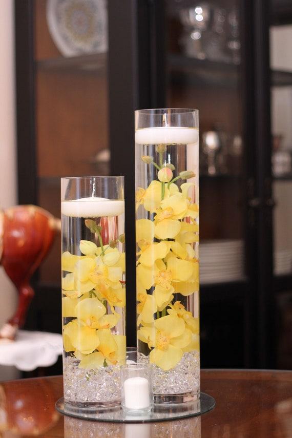 Floral Floating Candle Cylinder Vase Set W Etsy