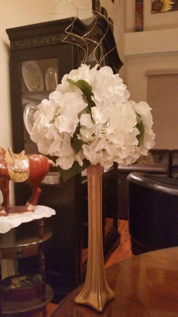 Floral Eiffel Tower Silk Hydrangea Centerpiece Wedding Etsy
