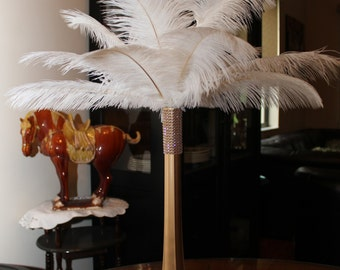 "Ostrich Feather Centerpiece 16""Gold Eiffel Tower-Ostrich Feathers--Wedding-Gatsby-Anniversary-Hollywood-Party-Birthday-prom-Bridal Shower"