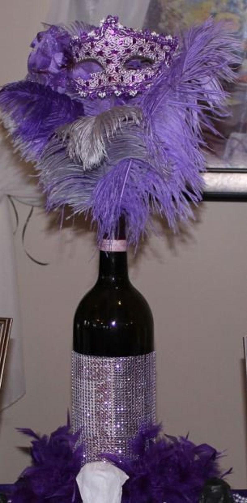 Masquerade Display Wine Bottle Centerpiece 1 Mask Ostrich Etsy