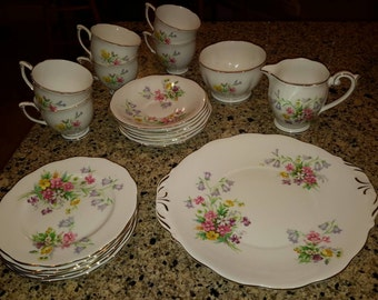 Vintage Fine Bone China Dessert Set for 6 -  1950s  made in England -Queen Ann