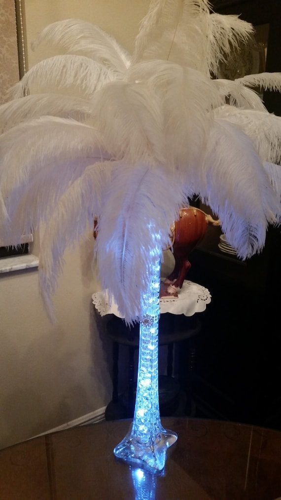 Ostrich feather centerpiece eiffel tower vase w led etsy