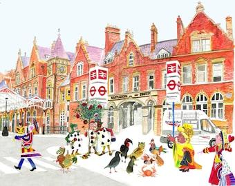 Wonderland comes to London A4 Archival Art Print