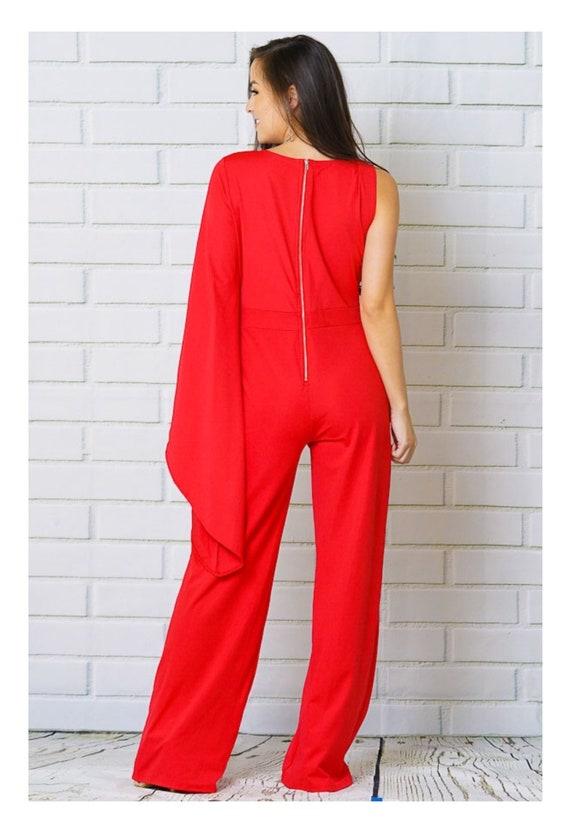 SALE!!! Fierce Fire Fly Jumpsuit in Red /& White