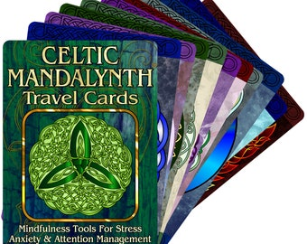 Celtic Mandalynth Travel Cards 21-Pack - Mindful Tracing Art for Stress, Anxiety and Attention Management