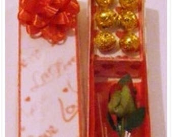 Miniature Dolls House Valentines Boxed Rose & Chocolates  1/12th Scale