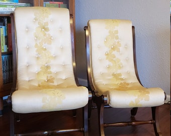 Tufted Victorian Slipper Chairs   Curved   Polynesian floral upholstery   Dark wood   Pair (2 Chairs)