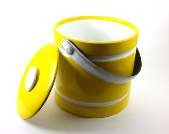 Ice Bucket Retro Vinyl   Bright Yellow Exterior and Lid   White Piping and Handle