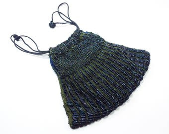 Purse   Black and Blue Beaded Evening Bag Purse with Drawstring