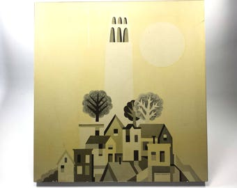 """Lowell Herrero Coit Tower Print Mounted   1970 at Nut Tree   San Francisco   Monochromatic black tints on pale yellow   17"""" x 18"""""""