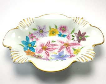 Limoges France Candy Bowl with floral Stargazer Lily print  Artist FF