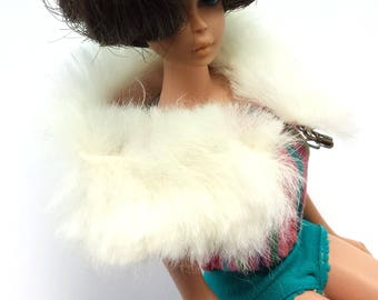 """Barbie Doll Clothes   White Fur Stole with Pink Lining """"Enchanted Evening""""     #983   1960 – 1963 Mattel"""