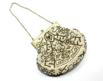 Evening Bag Purse White and Gold Color   Clasp Closure, Silk Interior with Pocket, and Chain