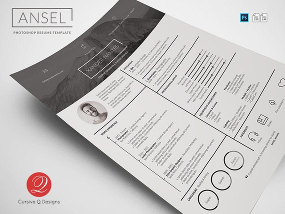 Ansel Photoshop PSD Resume Template Instant Download Etsy