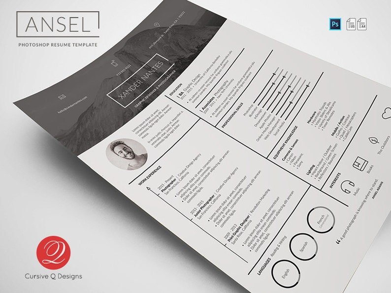 Ansel Photoshop PSD Resume Template Instant Download