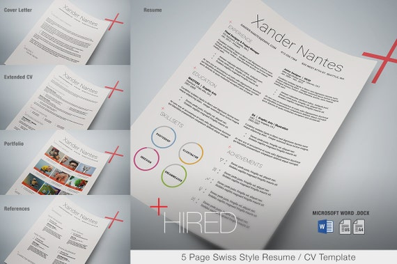Hired microsoft word resume template swiss style 5 page yelopaper Gallery