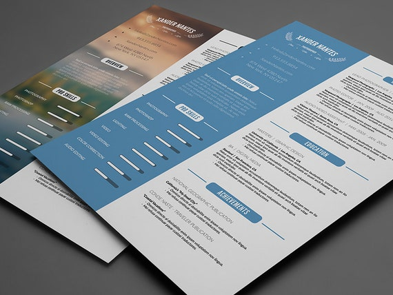 Clean Resume Template Photoshop PSD Instant Download Etsy