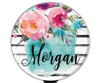 Floral Retractable Badge Holder Reel, Personalized Name Badge Reel, Nurse Badge Holder, Retractable ID Reel, Flower Nurse Badge Reel GG4341