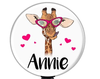 Details about  /Giraffe Lovers Clip On Id Badge Reel Retractable Work Identification Holder Gift