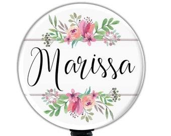 Retractable Flower Badge, Retractable Floral Badge Reel, Personalized Name Badge Reel, Nurse Badge Holder, Custom Nurse Badge Reel - GG4547