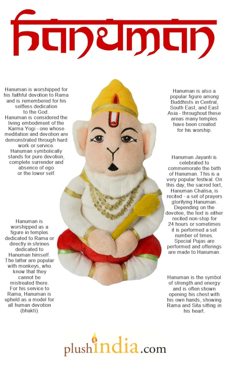 Plush Hanuman - Soft Teddy of Hindu God Hanuman by Plush India
