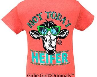 5f1966730 Girlie Girl Originals Not Today Heifer Coral Short Sleeve T-Shirt
