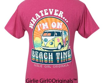 35e461520701a Girlie Girl Originals Whatever Beach Retro Heather Pink Short Sleeve T-Shirt