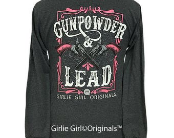 88ae39062 Girlie Girl Originals Gunpowder & Lead 2 Long Sleeve Black Heather T-Shirt
