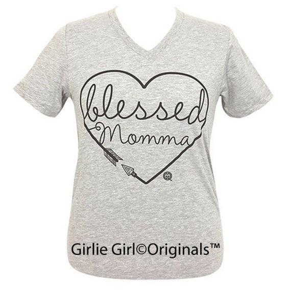 3ee1f41973c0f Girlie Girl Originals Blessed Momma Athletic Heather V-Neck