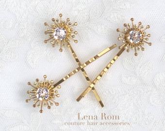 Hair pins. Bridal hairpins. Wedding hair pins. Gold hair pins. Style 807