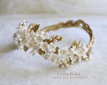 Cherry blossom bridal crown. Bridal headpiece. Wedding headpiece. Floral crown. Style 821
