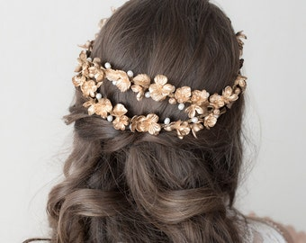 Bridal headpiece. Bridal crown. Bridal wreath. Boho wreath. Wedding headpiece. Gold headpiece. Style 621