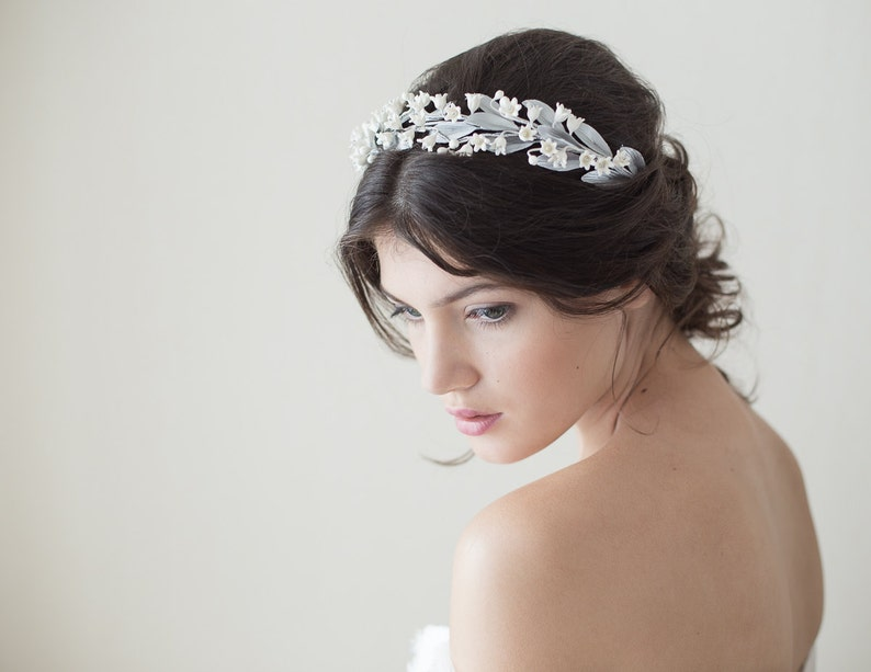 Lily of the valley headpiece. Bridal crown. Gold bridal  cfa78f4cde2