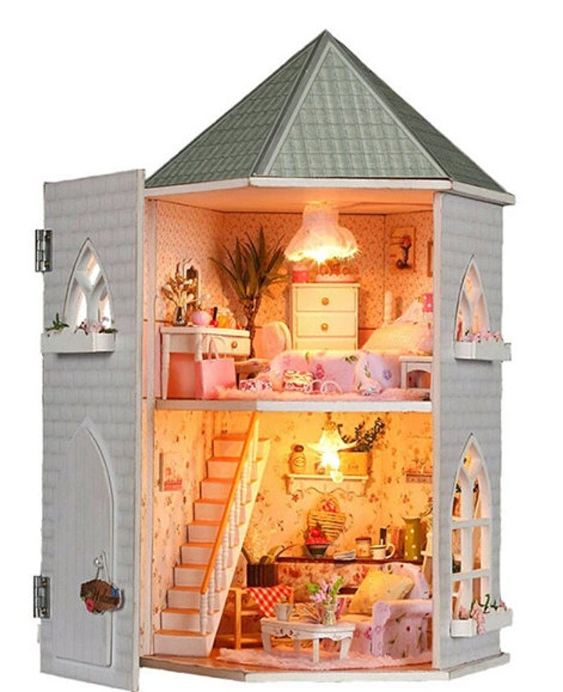 Doll House Castle DIY Kit With Furniture