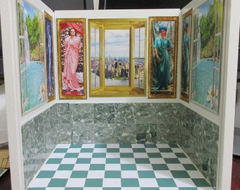 dollhouse miniature roombox display room box decorated