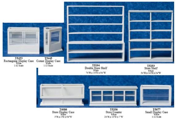 WHITE DISPLAY CORNER CASE//COUNTER MINIATURE DOLLHOUSE 1:12 SCALE T5445