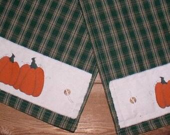 """Pumpkin Table Runner 10""""W x 48""""L Green Plaid Homespun Runner Handpainted Pumpkin Runner SINGLE ITEM on SALE"""