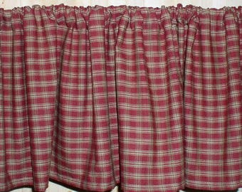 Berry Plaid Homespun Valances SPECIAL SIZE LISTING Country Curtains Kitchen  Cabin Primitive Americana Curtain Country Red Plaid Fabric