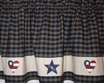 Americana Hearts And Stars Homespun Valance Navy Plaid USA 4th Of July  Kitchen Decor Cabin Primitive Country Curtains