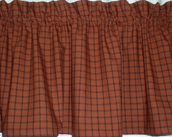 Burnt Orange Rusty Pumpkin Homespun Valances Tiers Runners Country Curtains Kitchen Home Cabin FREE SHIPPING In 1 2 Days
