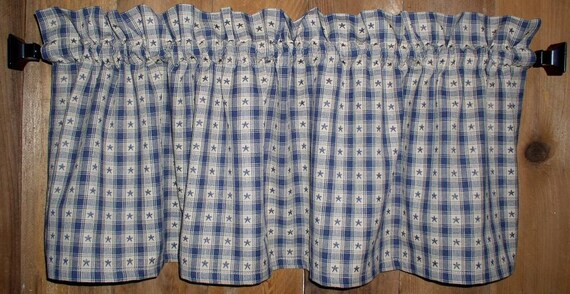 Navy Stars on Windowpane Homespun Valance Tiers and Runners Kitchen or Cabin Decor Primitive Country Curtains Barn Star Valances Curtains
