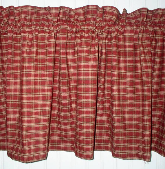 Berry Plaid Homespun Valances Tiers Runners Country Curtains Kitchen Cabin  Primitive Americana Curtain Country Red Plaid Fabric FREE SHIP