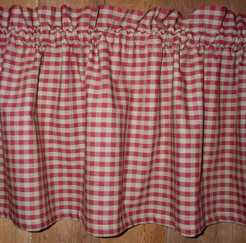 Navy /& Tan Ticking Homespun Valances Tiers Runners Country Curtains Kitchen Home Cabin Valances Plaid Curtains FREE SHIPPING in 1-2 days