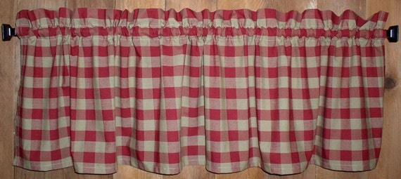 Berry Red Stars Navy Plaid Valance Primitive Country Curtains Runner Americana