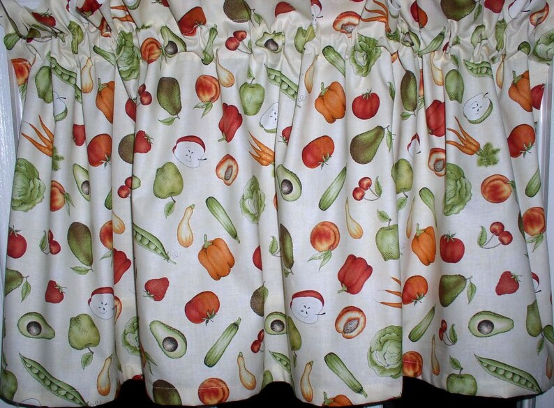 Fruit and Vegetable Valances Tiers Runners Country Curtains and Valances  Vegetables Fruits Kitchen Curtains SHIP FREE
