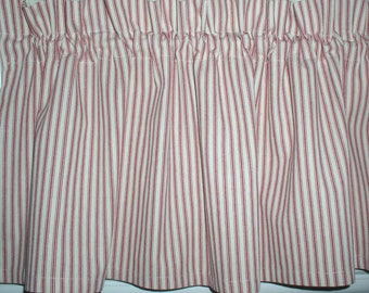 Red & White Ticking Valances Tiers and Runners Country Curtains Primitive Cabin Summer Kitchen Valances French Country