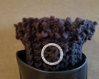 Womens Boot Cuffs, Crochet Boot Cuffs, Boot Toppers, Ankle Warmers, black, w/ silver charm