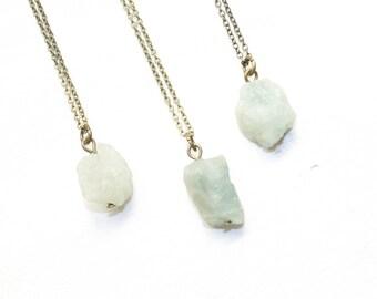 Raw Aquamarine Necklace, Aquamarine Nugget Necklace. Raw Crystal Necklace, Raw Nugget Necklace, Raw Crystal Jewelry, March Birthstone